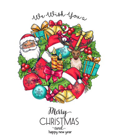 Merry Christmas holidays greeting card with Christmas elements in circular shape