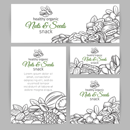 Hand drawn illustration of nuts and seeds Illustration