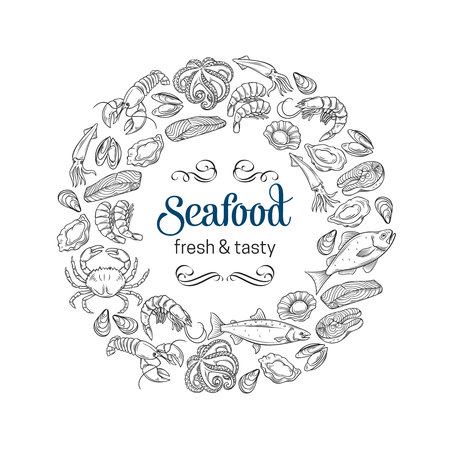 Hand drawn template seafood design