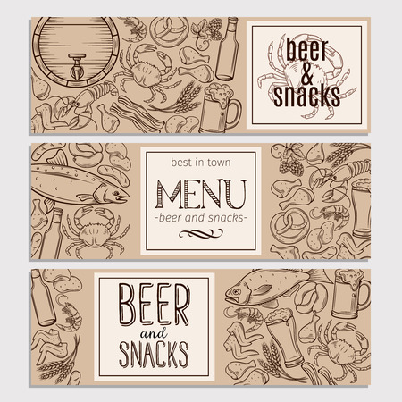 Pub Food and Beer Hand Drawn Template.