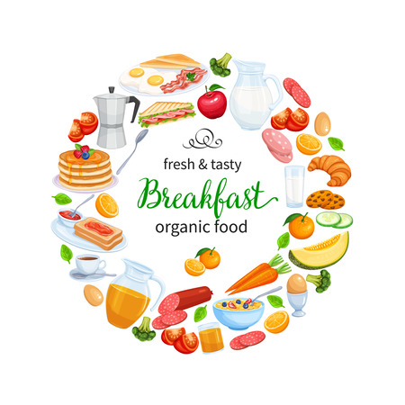 Breakfast Poster Food Design Vector. Jug of Milk, Coffee Pot, Cup, Fruits and Vegetables. Baking, Orange Juice, Sandwich and Fried Eggs. Pancakes and Toast with Jam.