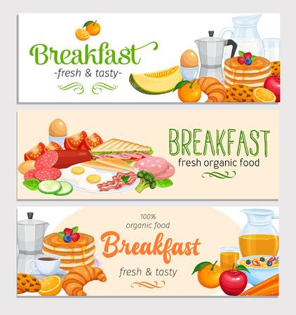 Modèle de bannières de petit déjeuner vecteur de conception alimentaire. Cruche de lait, cafetière, tasse, fruits et légumes. Cuisson, jus d'orange, sandwich et ?ufs frits. Crêpes et toasts à la confiture.