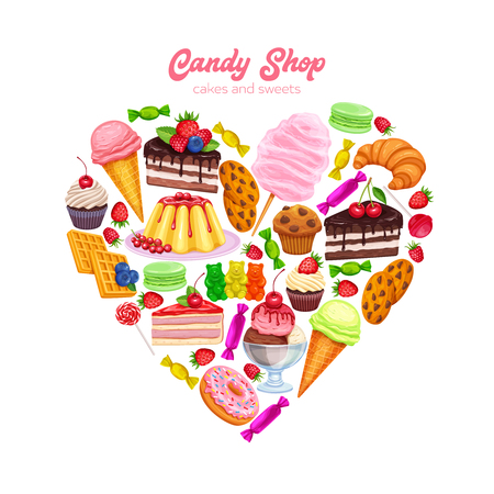 Confectionery and Sweets Poster in Shape Heart Design Vector. Donut and Cotton Candy, Muffin, Waffles, Biscuits and Jelly. Dessert, Lollipop, Ice Cream with Candied, Macaron and Pudding.