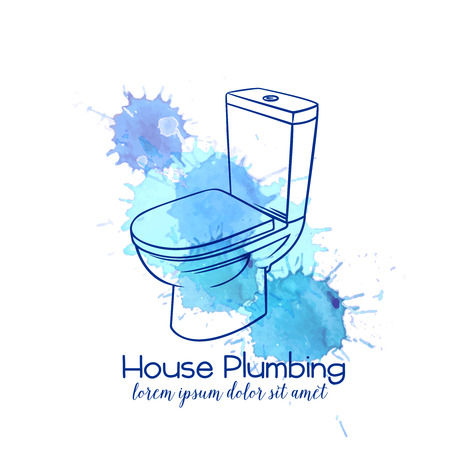 Badge toilet for house plumbing promotion design. Outline vector illustration. Stock Illustratie
