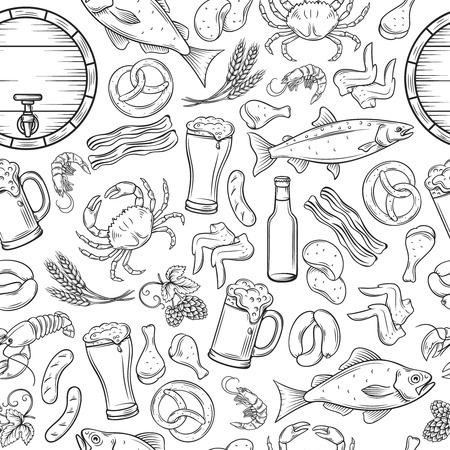 Pub food and beer seamless pattern. Ilustração