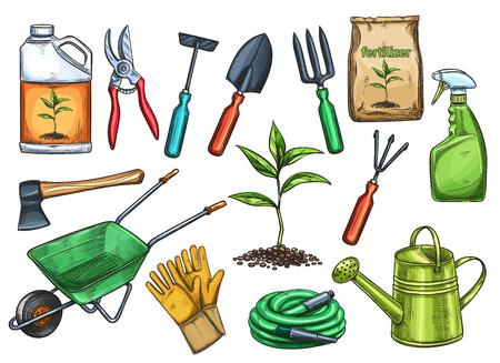 Gardening tools vector illustration.