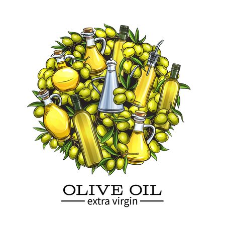 Olive oil and olives illustration. Illustration