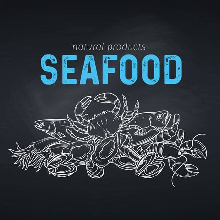 Seafood banner. Vector template hand drawn design for product market. Illustration in chalkboard sketch style.