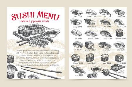 Sushi bar menu illustration