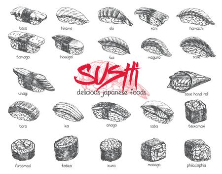 Hand drawn sushi set Stock Vector - 96678103