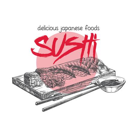 Japanese sushi food. Illustration