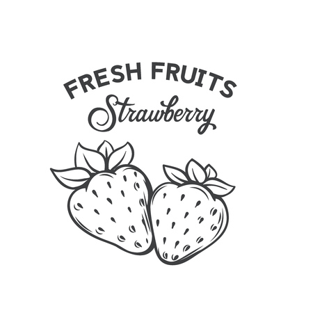 Hand drawn strawberry icon isolated on plain background. Illusztráció