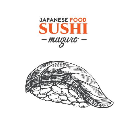 A Maguro sushi. icon isolated on plain background.
