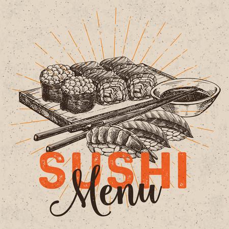 sushi bar menu vector illustration.