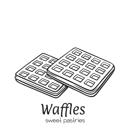Vector hand drawn belgian waffles