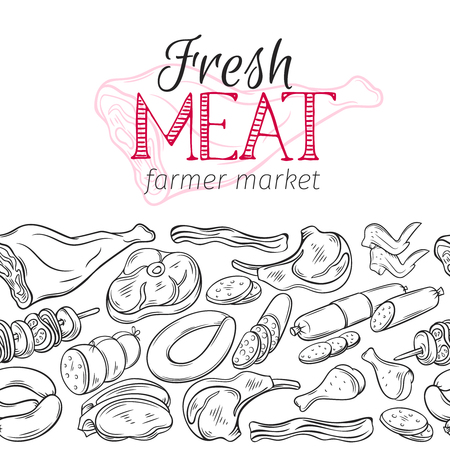 Seamless border template meat products Illustration
