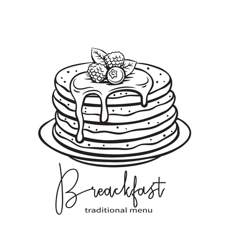 hand drawn pancakes 일러스트