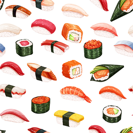 Seamless pattern japanese food