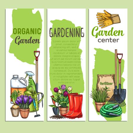 hand drawn gardening banners 일러스트