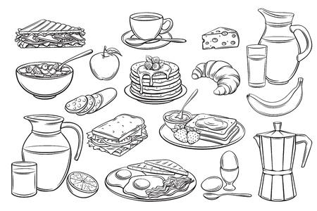 establecer iconos de desayuno Ilustración de vector
