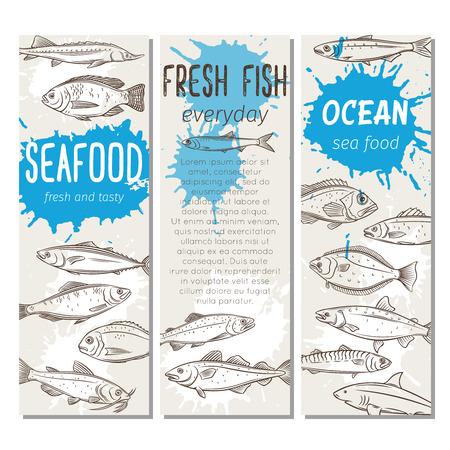 banner hand drawn fish Illustration