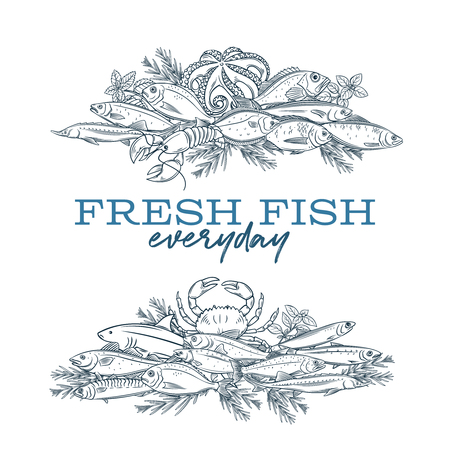 poster hand drawn fish