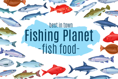 page design with fish Stock Illustratie