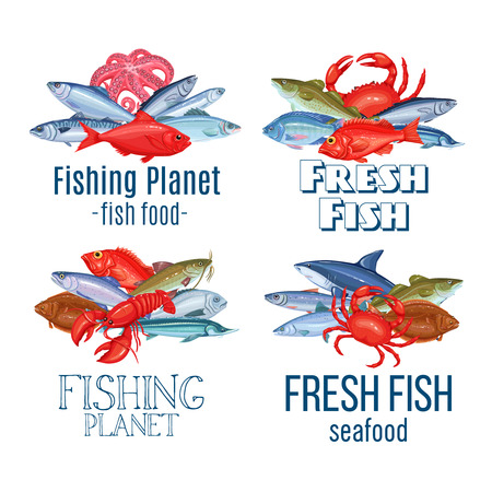 Set vector banners fish. Seafood labels design with salmon, anchovy, codfish, sea bass, ocean perch and sardine. Icon mackerel, herring, dorado, tuna, halibut, tilapia and trout.