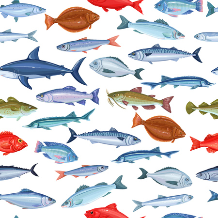 Vector seamless pattern with fish. Background seafood with salmon, anchovy, codfish, sea bass, ocean perch and sardine. Backdrop cartoon mackerel, herring, dorado, tuna, halibut, tilapia and trout.