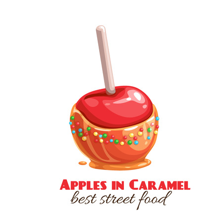 Vector red apples in caramel or toffee. Halloween sweets for street food cafe. Cartoon style. Illustration