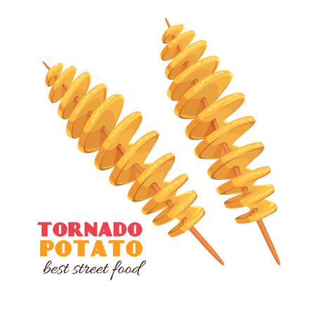 spiral tornado potato Stock Illustratie