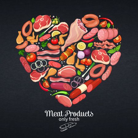 Gastronomic meat products with vegetables and spices poster template shape of heart for food meat production, brochures, banner, menu and market design. Vector Illustration.