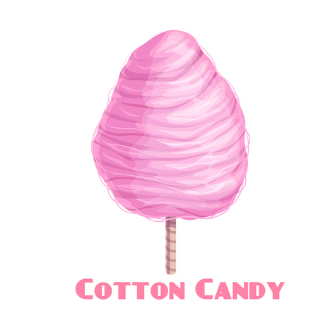 Vector pink cotton candy icon. Sweet food product for attractions, festivals or street food cafe.