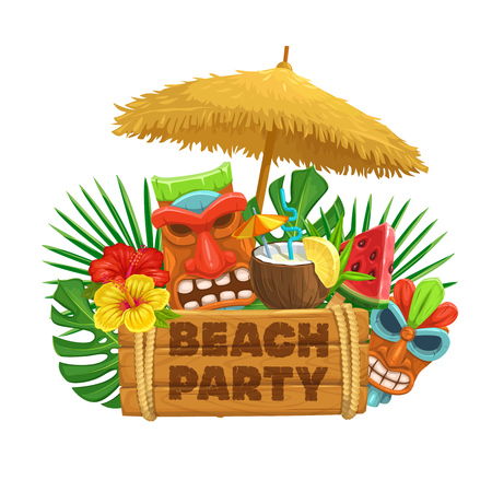 Vector hawaiian beach party banner. Tiki tribal mask, wooden signboard, straw umbrella, cocktail pina colada, watermelon, torch and flowers of hibiscus.