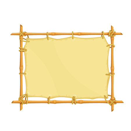 Marco de letrero de bambú de vector. Ilustración para diseño fiesta hawaiana y publicidad relajación tropical.