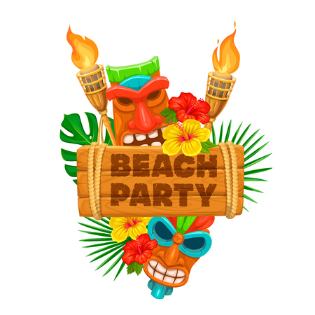 Vector hawaiian beach party banner. Tiki tribal mask, wooden signboard, torch and flowers of hibiscus.