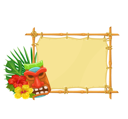 Bamboo signboard with tiki tribal wooden mask and hibiscus flowers. Illustration for design hawaiian party. Stock Illustratie