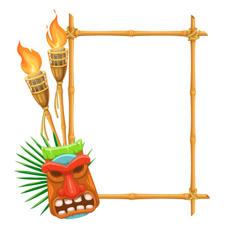 Vector bamboo signboard with tiki tribal wooden mask and torch. Illustration for design hawaiian party. Çizim