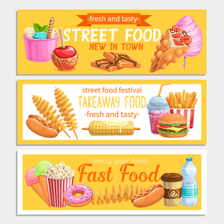 Street food banners. Takeaway meals template with bubble waffles, hong kong, spiral potato chips, lemonade and apples in caramel. Vector illustration fast food french fries, hamburger or hot dog.