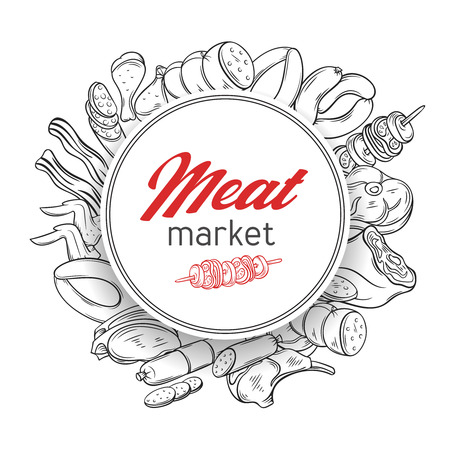 Round banner template with hand drawn engraving gastronomic meat products . Decorative vector poster illustration in retro style for design food meat production , brochures, banner, menu and market