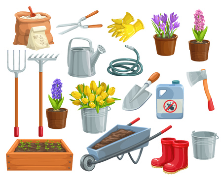 Vector gardening tools and flowers icons. Rubber boots, seedling, tulips, gardening can and cutter. Fertilizer, glove, crocus, insecticide, wheelbarrow, watering hose for garden center design Иллюстрация