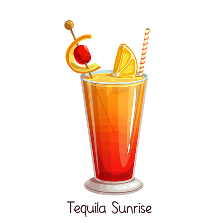 Vector glass of tequila sunrise cocktail with slice orange and cherry isolated on white. Color illustration summer alcohol drink.