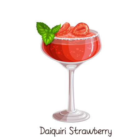 Vector glass of strawberry daiquiri cocktail with strawberries and mint leaves isolated on white. Color illustration summer alcohol drink. Vector Illustration