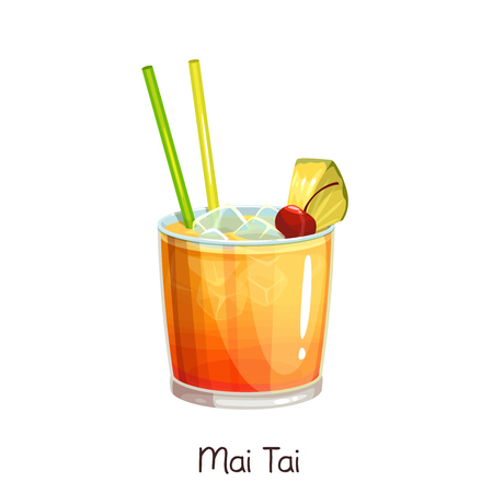 Vector glass of mai tai cocktail with slice pineapple and cherry isolated on white. Color illustration summer alcohol drink.
