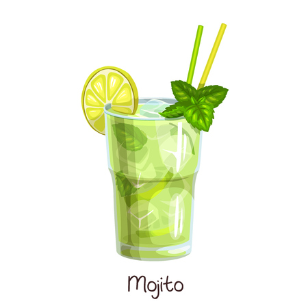 glass mojito cocktail 일러스트
