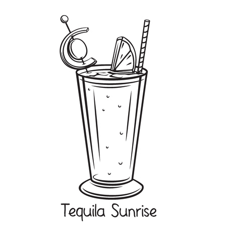 Vector glass of tequila sunrise cocktail with slice orange and cherry in hand drawn style. Retro illustration summer alcohol drink.