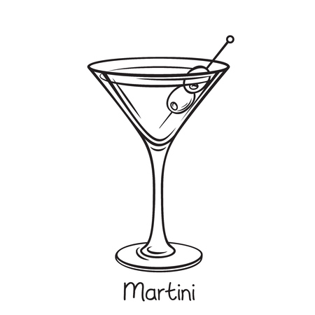 martini cocktail with olives Vectores