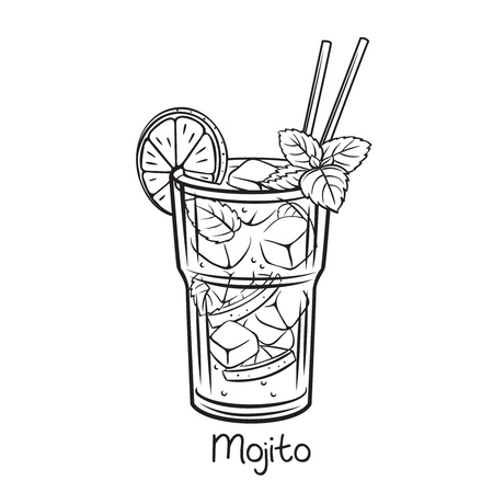 Vector glass of mojito cocktail with mint leaves in retro hand drawn style. Retro illustration summer alcohol drink. 일러스트