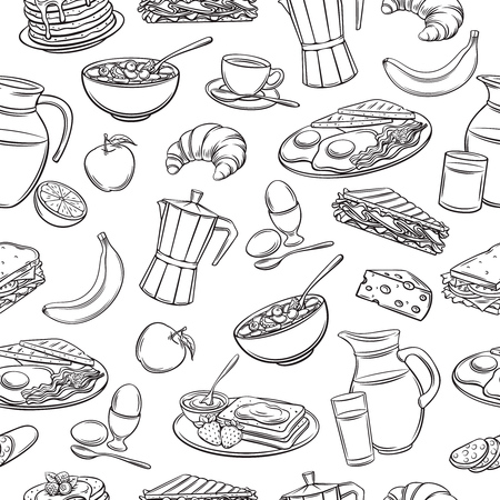 Vector seamless pattern hand drawn breakfast icons. Retro background with pancakes, toast with jam, croissant, cheese and etc. Stock Illustratie