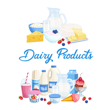 Vector banners dairy products. Illustration of cottage cheese, milk, butter, cheese and sour cream. Yogurt, ice cream, smoothies, whipped cream for design market farm product. Illustration